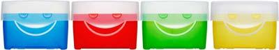 4 Lernkarteien in den Farben blau, rot, grün und gelb