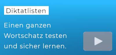 """blauer Hintergrund, darauf der Text """"Diktatlisten"""""""