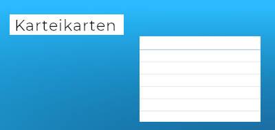 """blauer Hintergrund mit der Aufschrift """"Karteikarten"""", daneben eine linierte Karteikarte"""