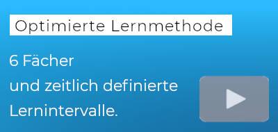 """blauer Hintergrund, darauf der Text """"optimierte Lernmethode."""""""